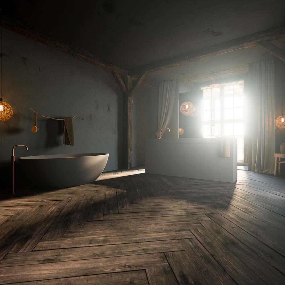 Une grande salle de bain campagne chic avec un plancher en chevrons et de la robinetterie en cuivre