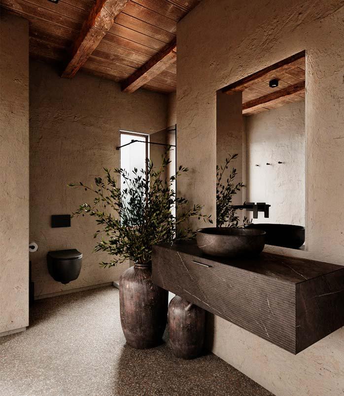 Une salle de bain slow design à l'aspect rustique avec des vases en bois