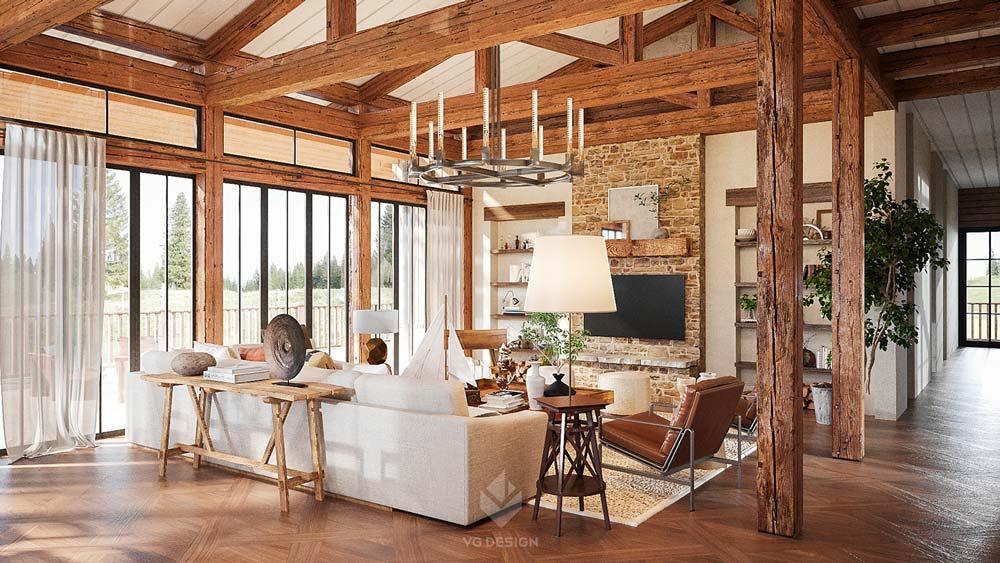 Un salon cocooning chaleureux en bois avec un mur en briques, un grand canapé blanc confortable et un plafonnier en fer