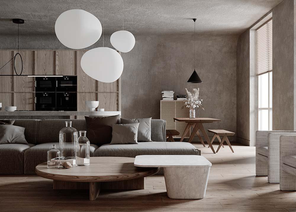 Un salon slow design épuré avec du bois clair, du béton et des teintes grises