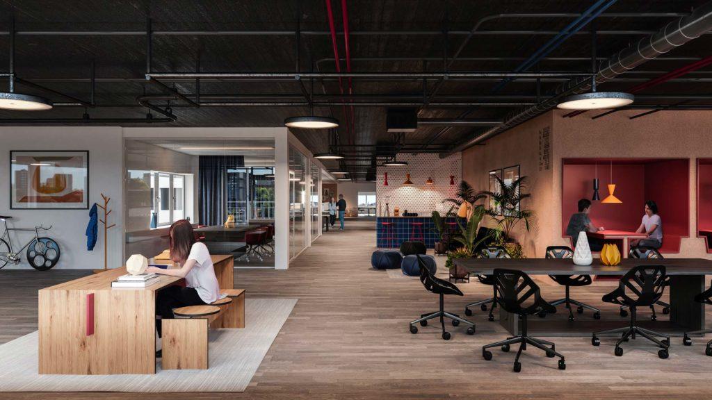 Un siège social organisé en plusieurs pôles : réunion, coworking, rendez-vous personnels, cafétéria et open space