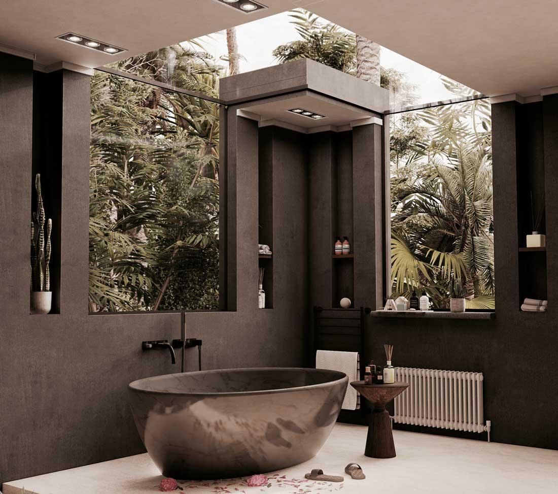 Une salle de bain avec murs, robinetterie et baignoire noirs, et de grandes vitres qui donnent sur de la végétation tropicale