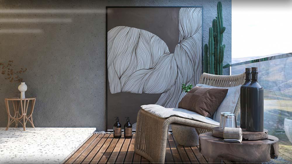 Un balcon aux sols en terrazzo et plancher en bois avec un fauteuil en corde