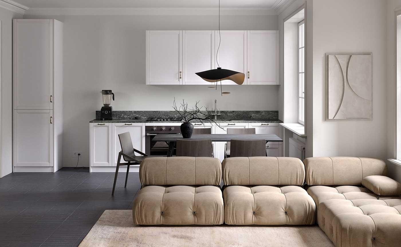 Canapé modulable clair dans un salon blanc qui contraste avec le sol sombre