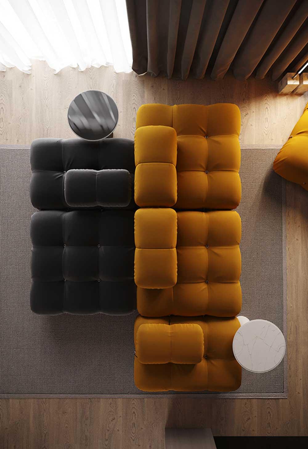 Des modules de canapés modulables jaune et gris dans un salon chaleureux