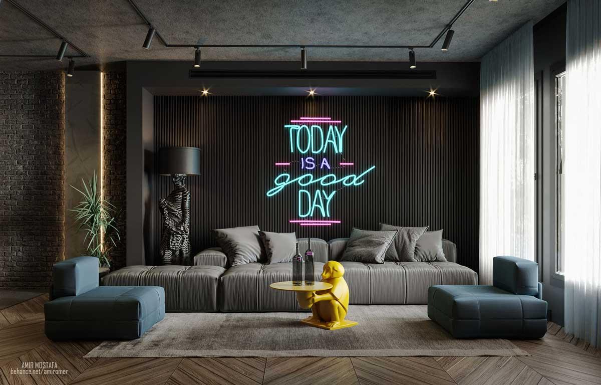 Des canapés modulables colorés, ici en tissu gris et simili cuir bleu dans un salon design avec une table basse jaune en forme de singe et des néons pastel au mur