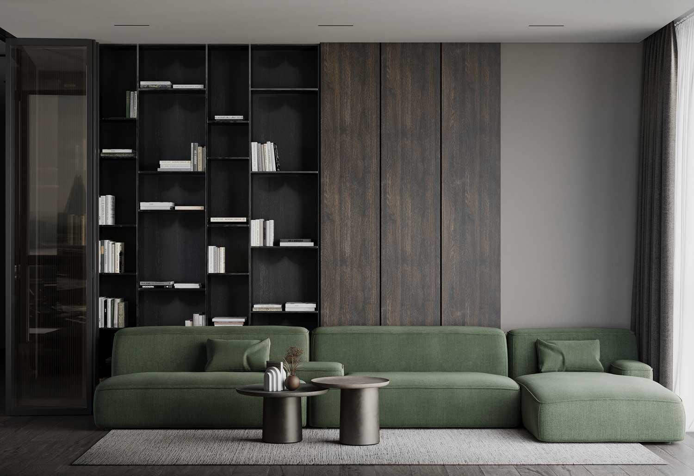 Avec les canapés modulables, le vert kaki s'accorde au bois sombre d'un salon
