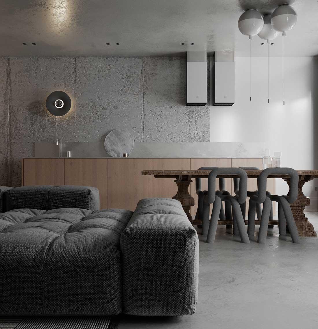 Des chaises textiles en tube s'accordent avec un canapé moelleux et se combinent à un intérieur sobre et naturel