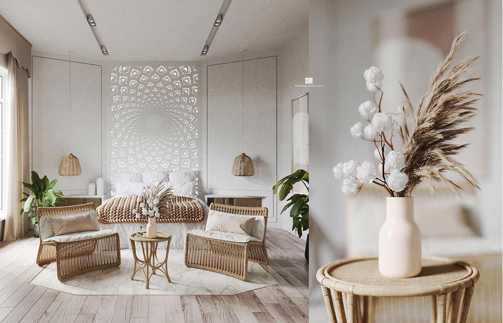 Une chambre épurée dans les couleurs neutres avec un plancher en bois clair et du mobilier en rotin