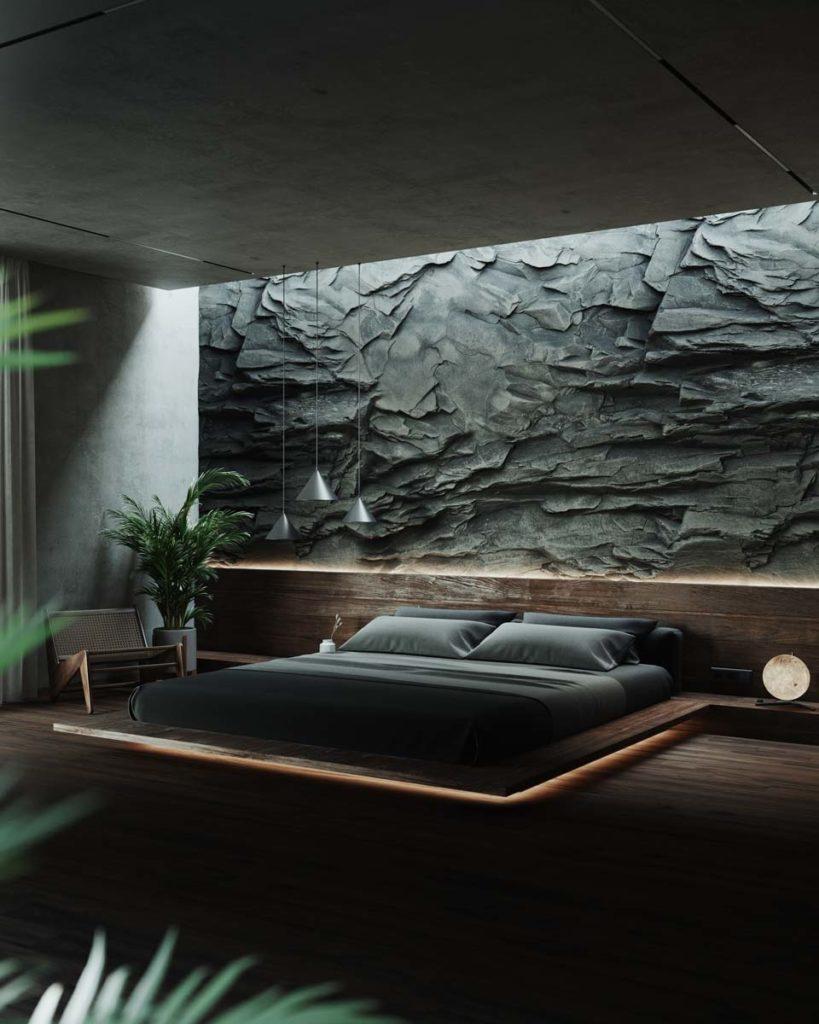 Une chambre tendance avec un mur en pierre et un plancher sombre, un lit suspendu éclairé par des néons