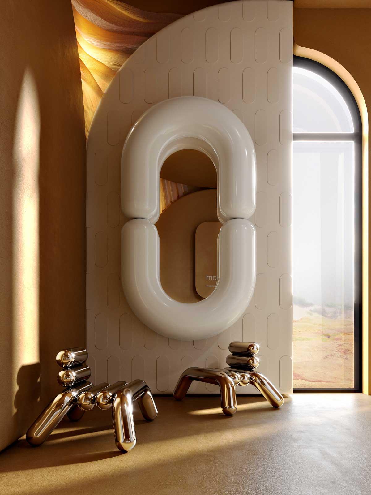 Des fauteuils et un miroir en tube épais
