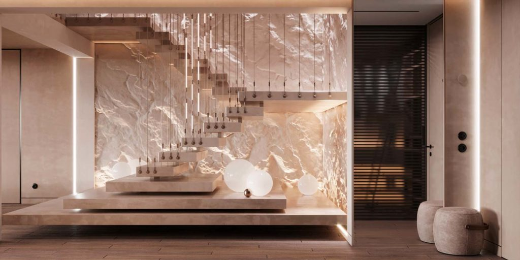 Des escaliers éclairés contre un mur de pierre blanche et un plancher clair pour une ambiance féérique