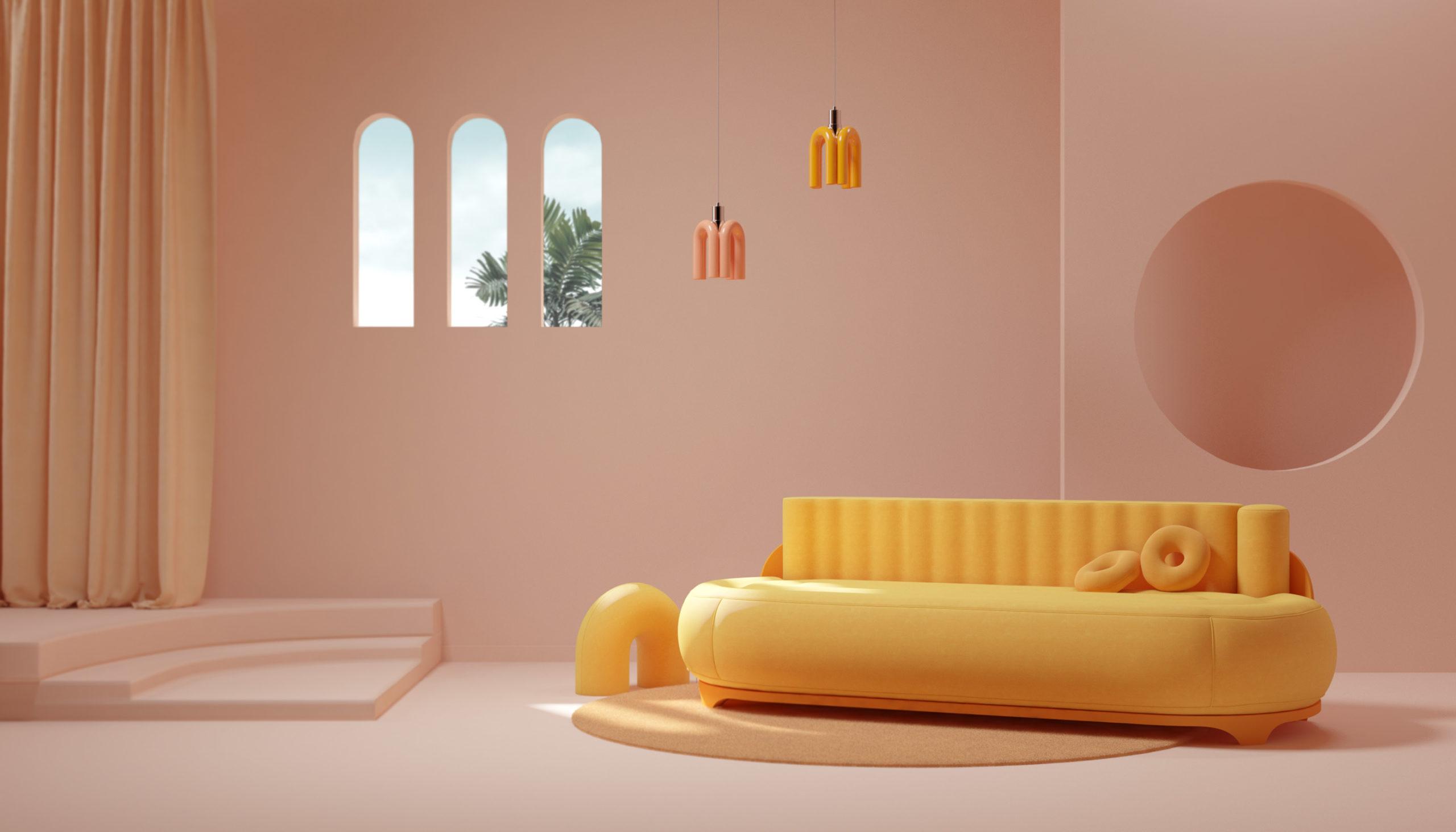 Le tube rose ou jaune se retrouve en luminaire, en coussin et en petite déco dans un salon pastel