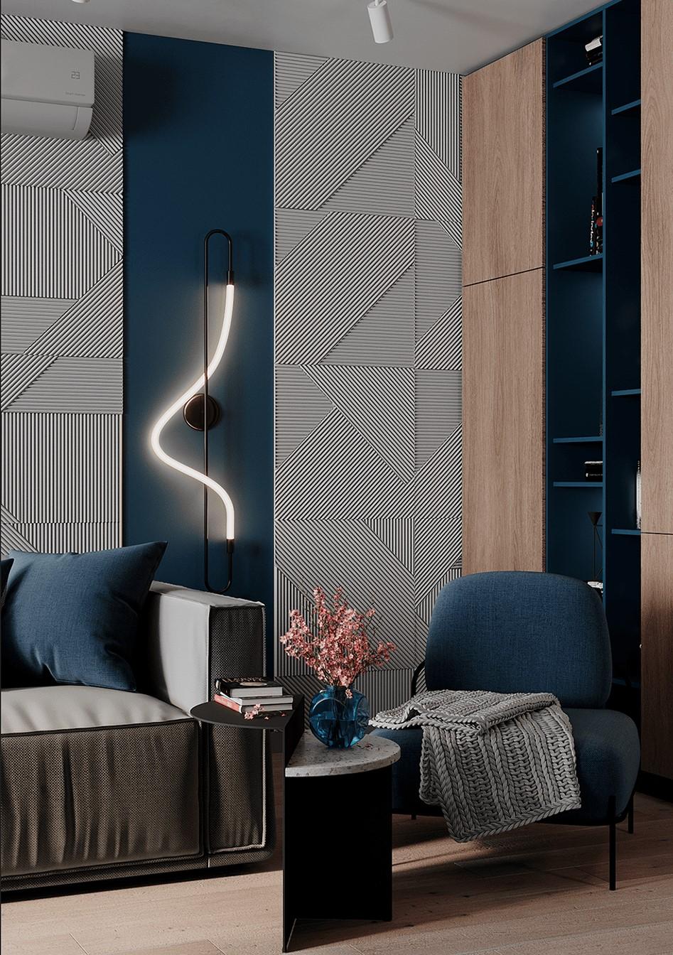 Un tube néon lumineux qui éclaire un salon contemporain bleu, gris et bois blond