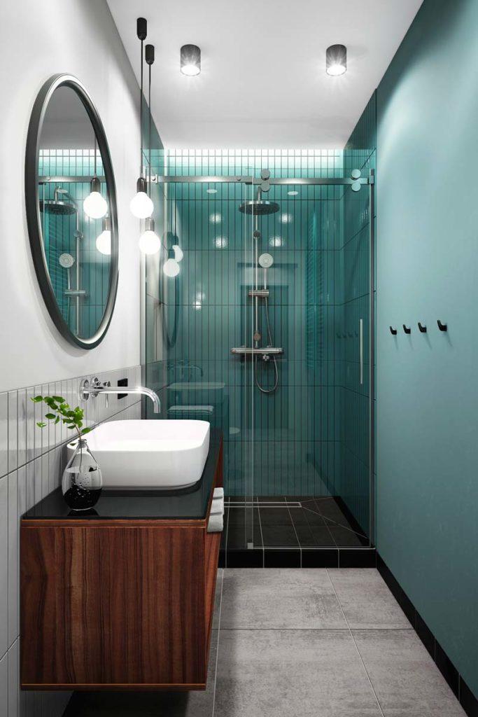 Une salle de bain bleu ciel avec du carrelage en zellige bleu et blanc