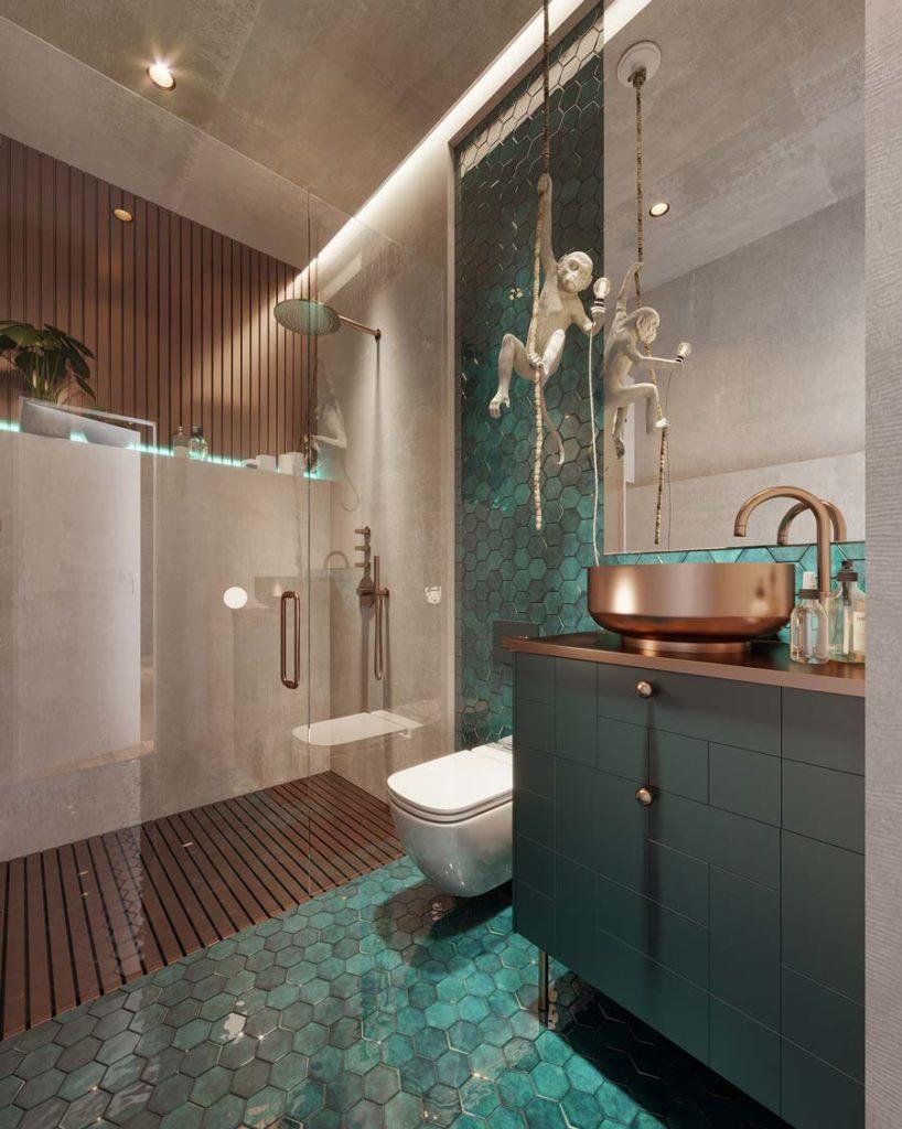 Une salle de bain avec du bardage intérieur en bois, un lavabo en cuivre et un sol et un pan de mur en zellige hexagonal turquoise