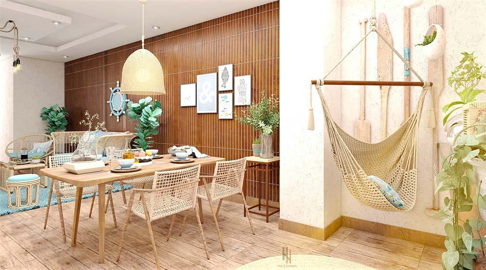 Plancher en bois, rames et mur en bardage intérieur pour un intérieur dans le style bord de mer