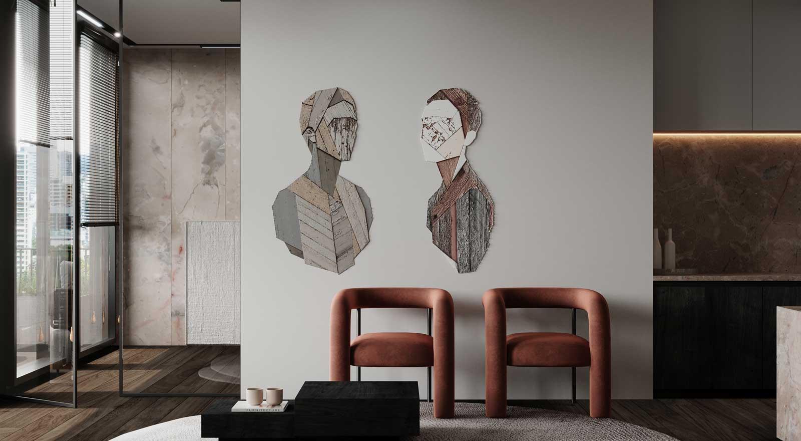 Des fauteuils en tube de velours décorent un intérieur original en marbre, néon et petite déco en bois de différentes essences