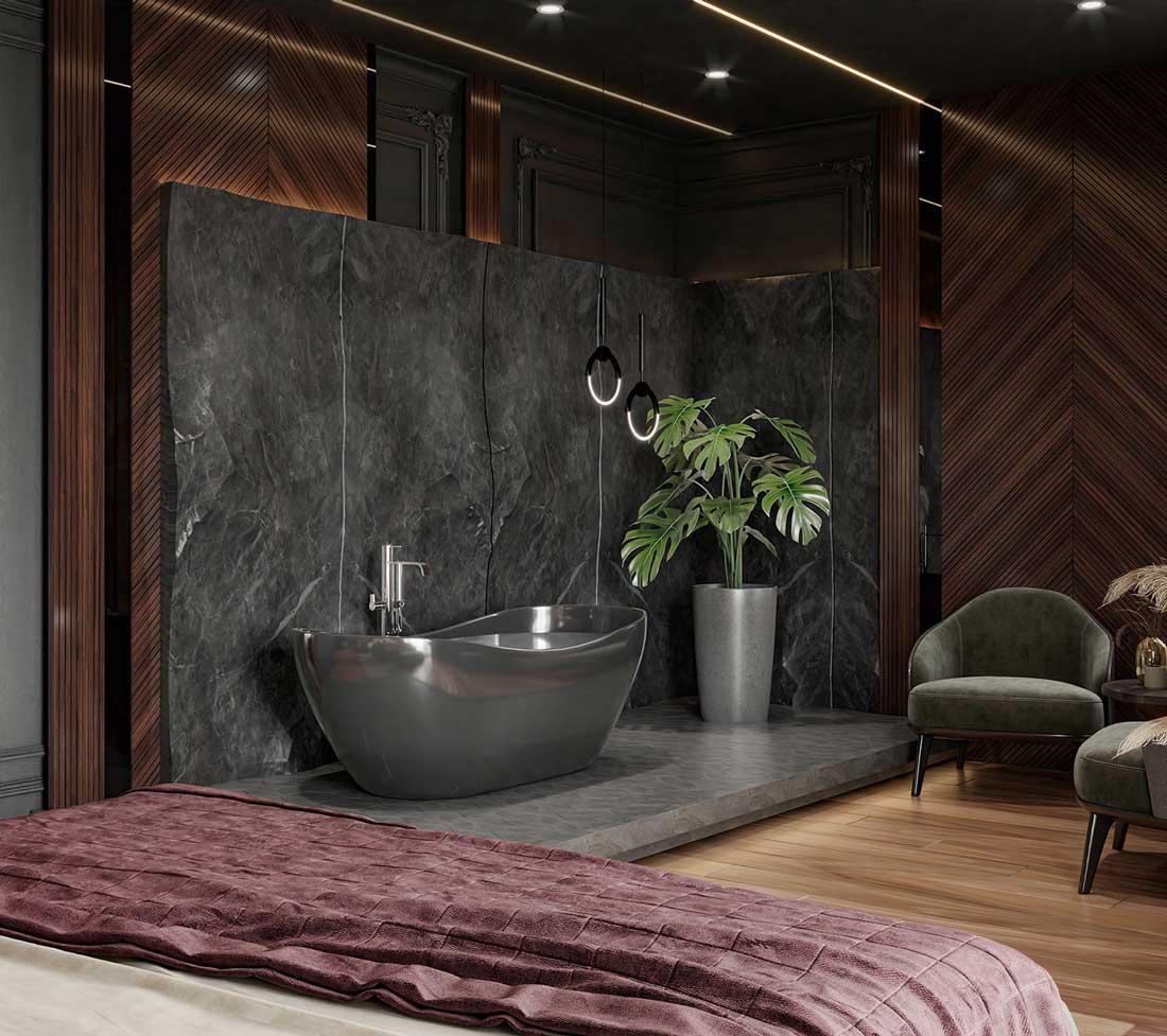 Une baignoire en chambre pour un coin bien-être noir, accordé au bois sombre en point de Hongrie