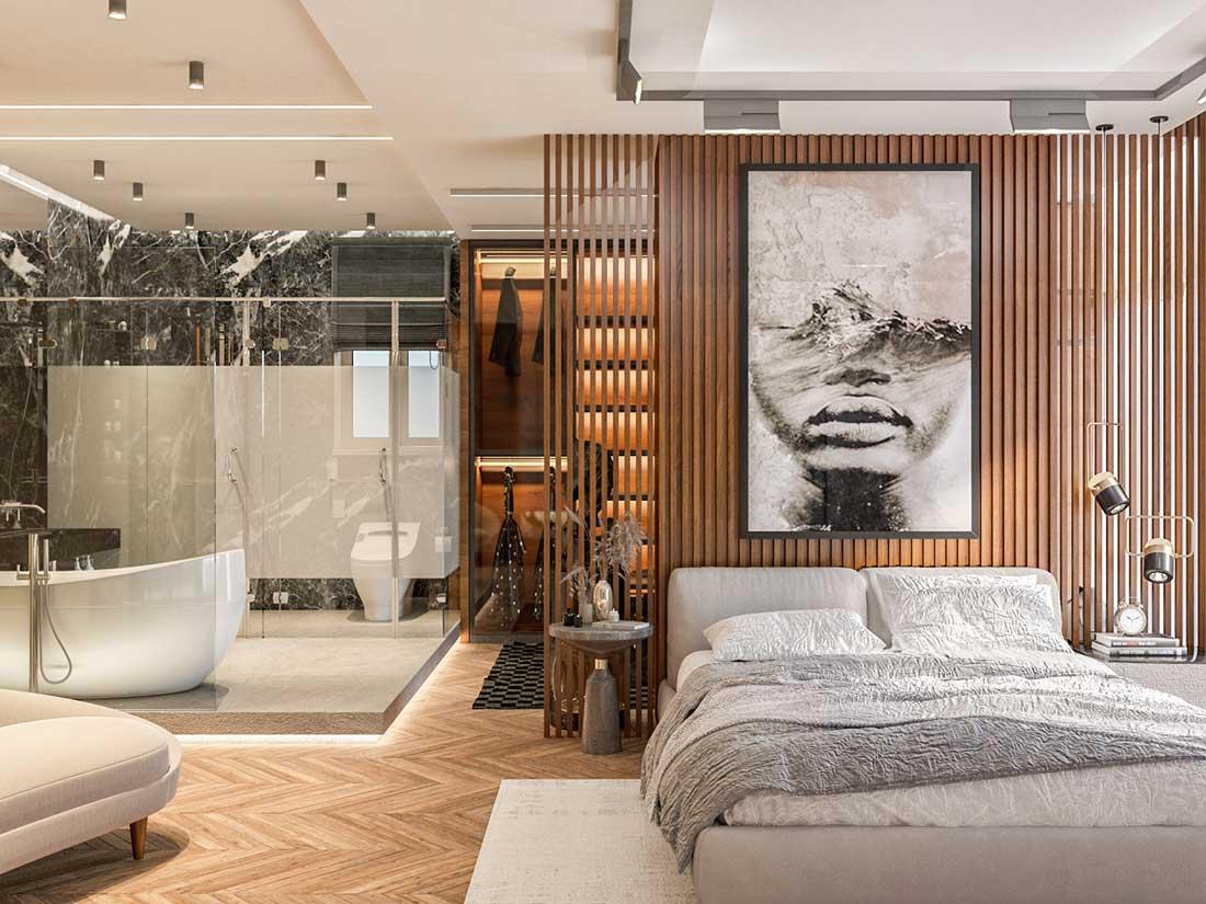 Un espace bain vitré dans une chambre contemporaine avec une paroi de bardage intérieur en bois et un dressing