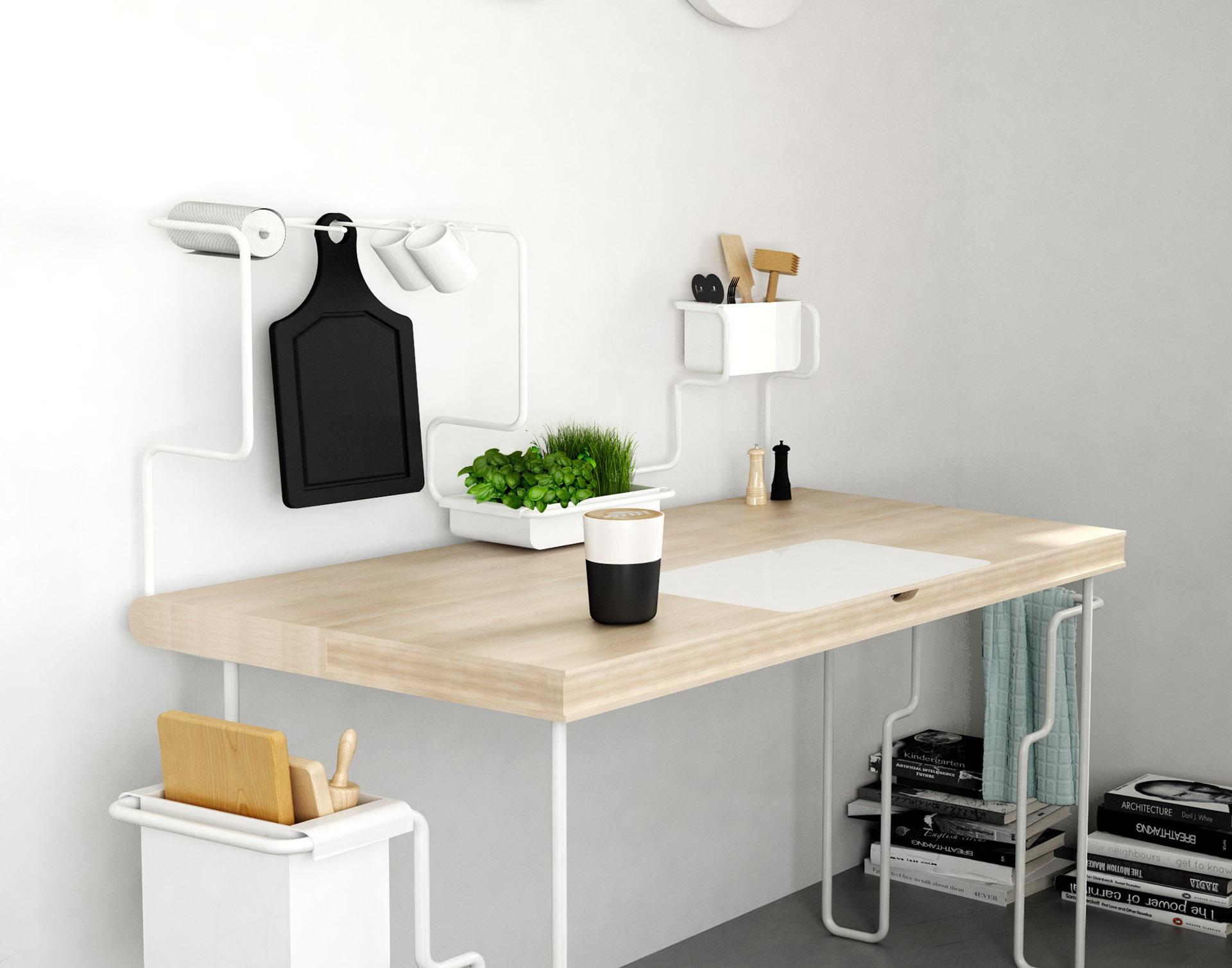 Le tube blanc compose une table multifonctions avec un plan de travail en bois blond
