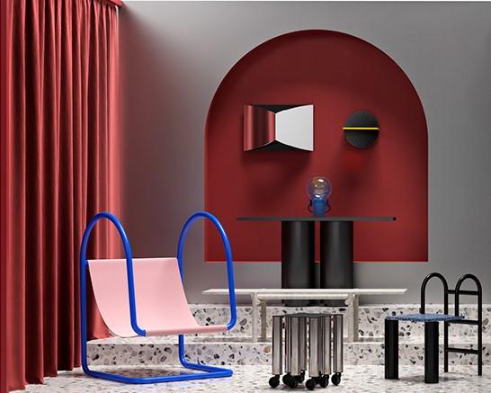 Le tube compose des petits fauteuils originaux d'inspiration transat ou piscine