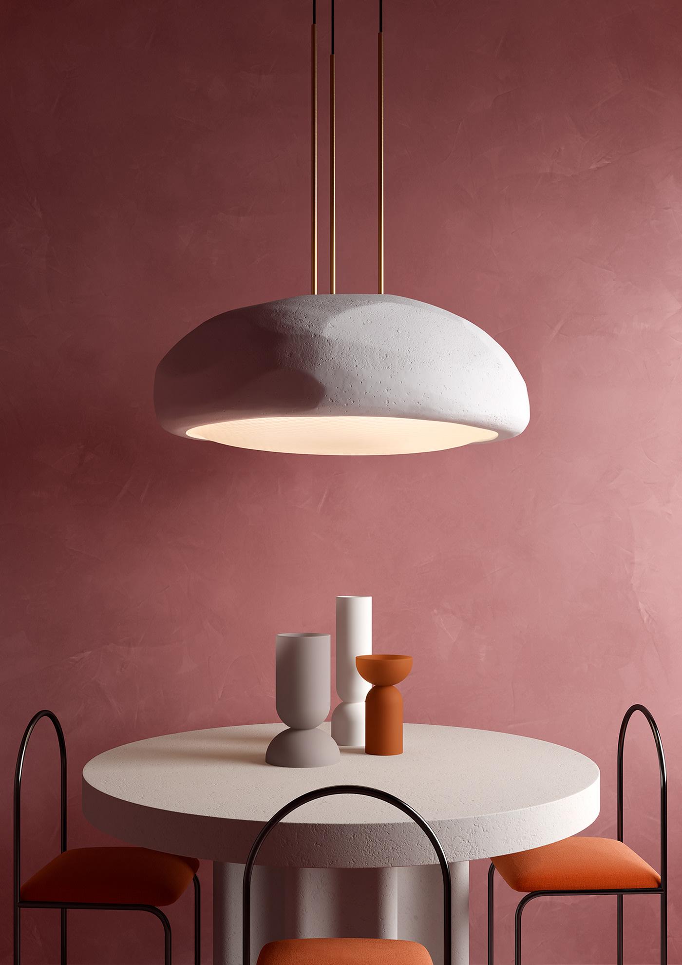Le tube courbé en arceaux fins forme des dossiers de chaises et se retrouve aussi pour suspendre un luminaire en coque