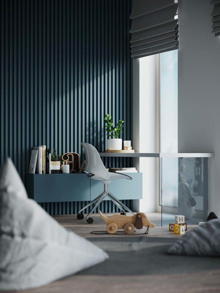 Coin bureau dans une chambre d'enfant avec du blue sky sur le mur, une étagère, le fauteuil à roulettes et les coussins