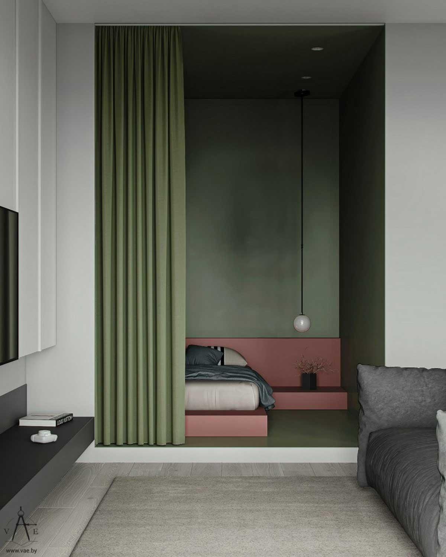 Des rideaux kaki séparent un espace nuit du reste du salon