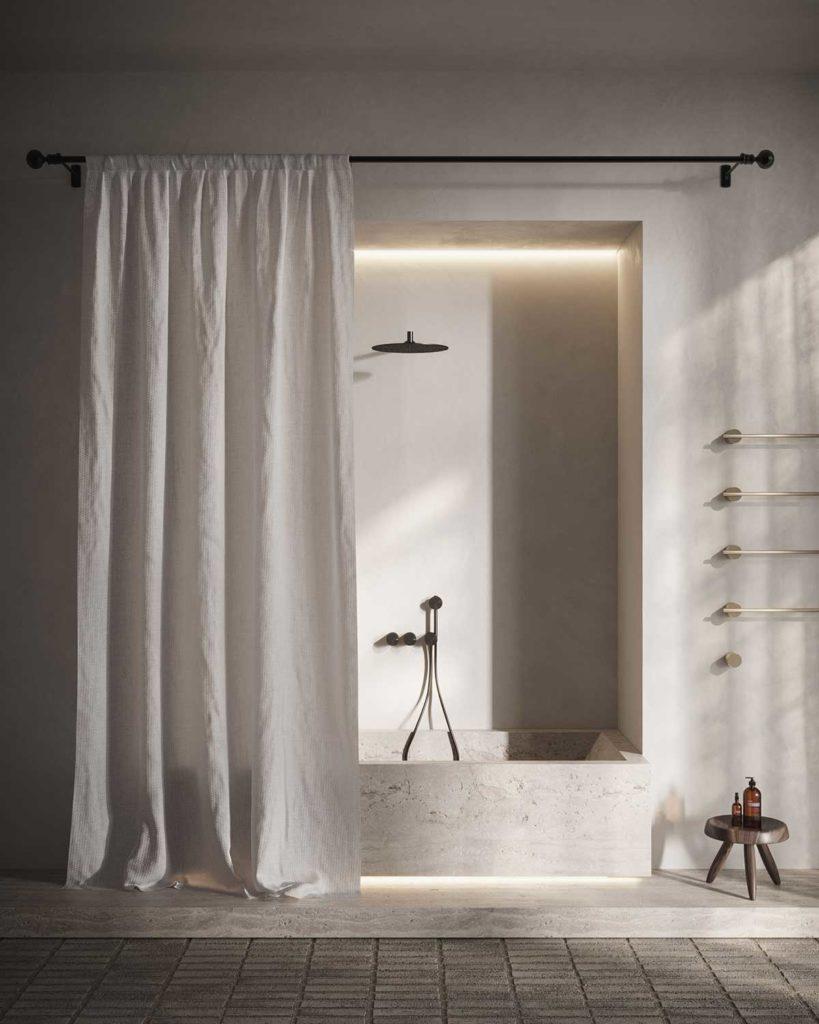 Un bac de douche en travertin pour profiter des propriété antidérapantes de la pierre calcaire naturelle