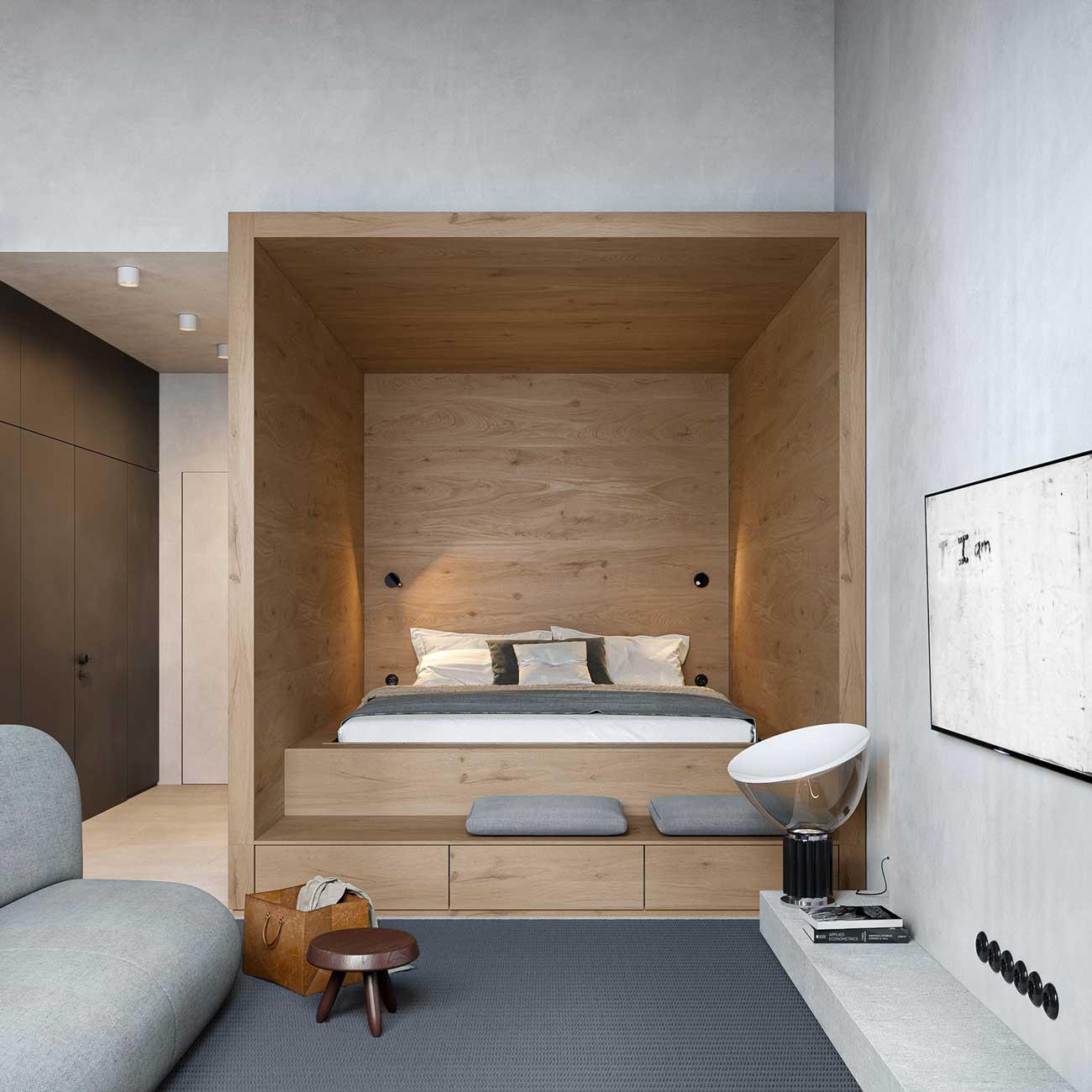 Une boîte en bois blond pour accueillir un lit