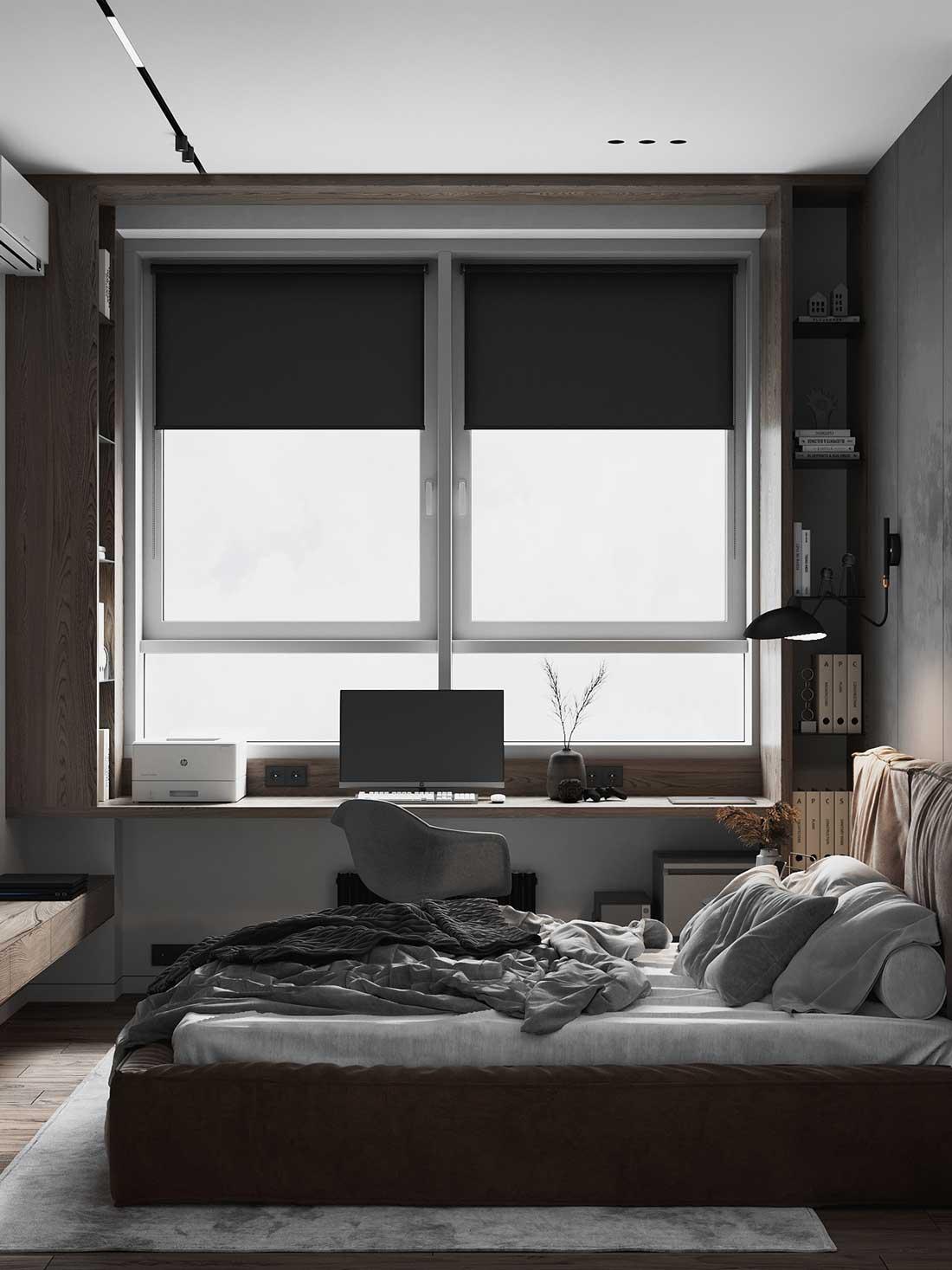 Une chambre lumineuse, minimaliste et fonctionnelle pour dormir et travailler