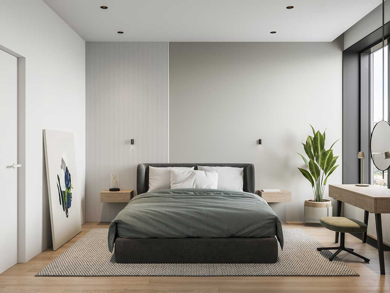 Une chambre minimaliste blanche et lumineuse avec une touche de verdure