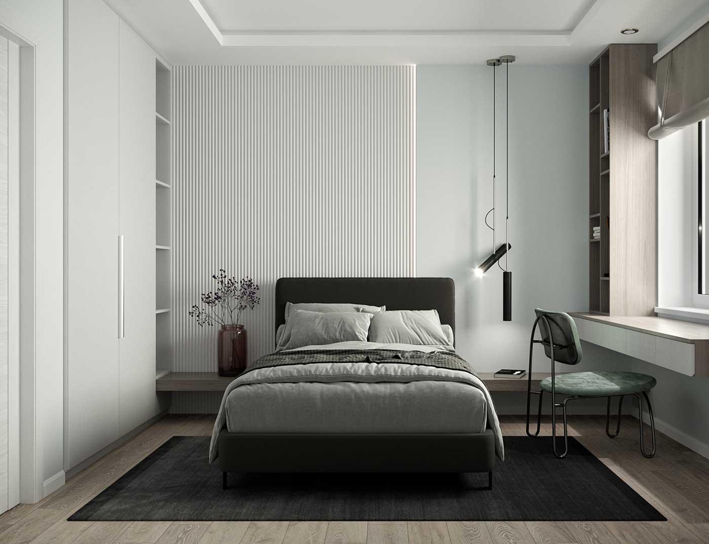 Une chambre minimaliste avec un petit bureau et des rangements