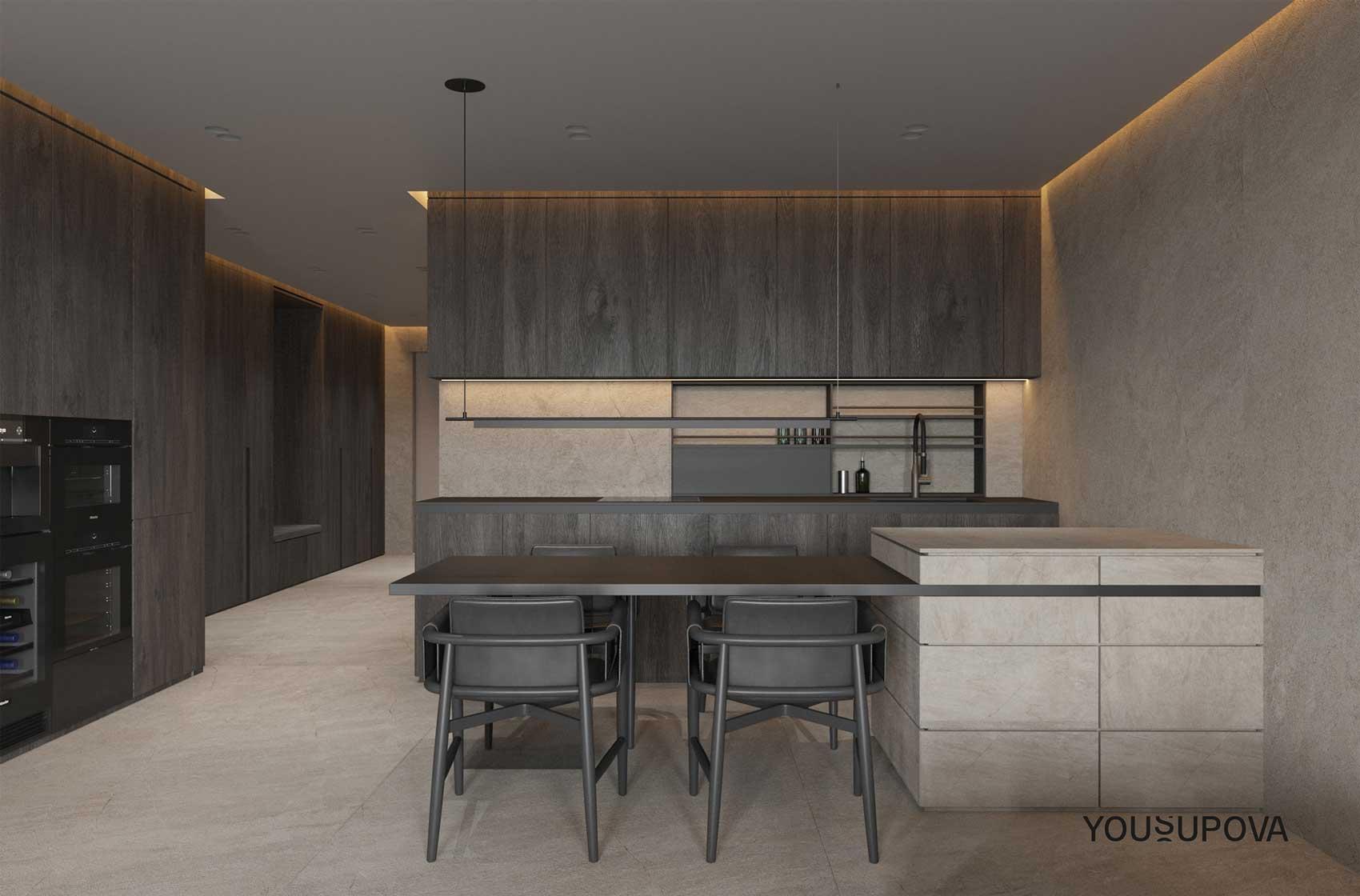 Un coin cuisine avec un mur et un sol en tadelakt et du mobilier en bois sombre