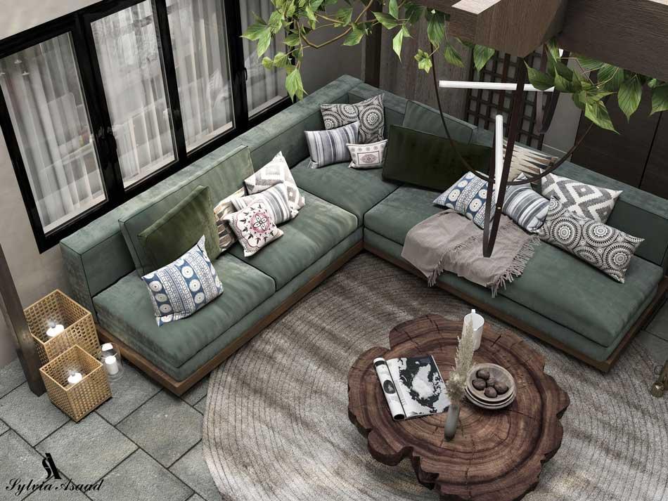 Un canapé d'angle extérieur vert kaki pour créer un coin de détente et de relaxation au jardin