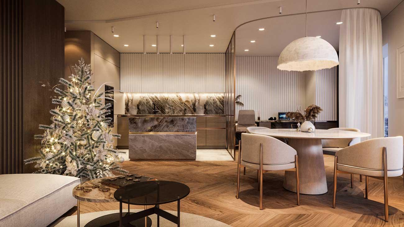 Les rideaux isolent des espaces de travail dans les salons et salles à manger