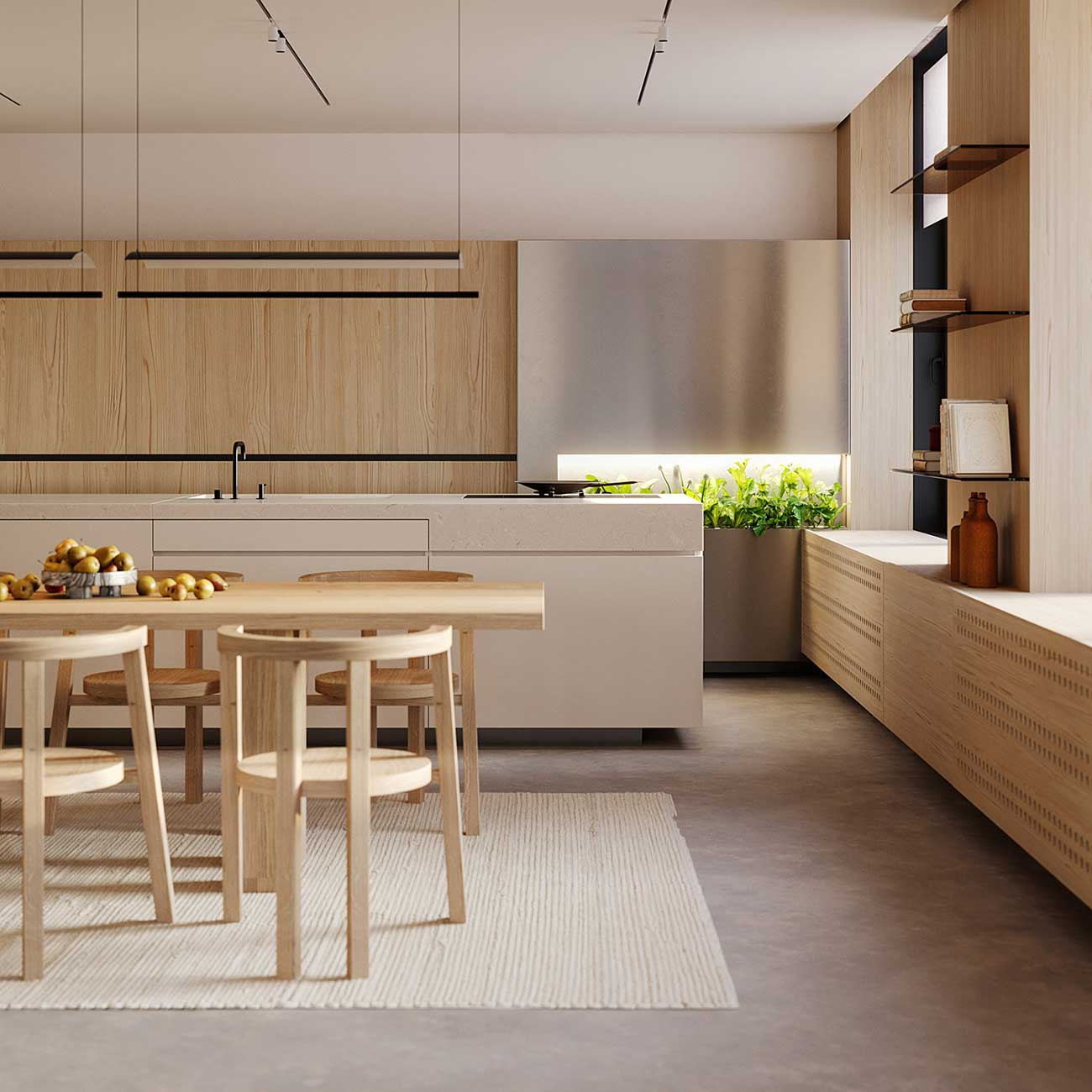 Une cuisine lumineuse avec des meubles en bois clair et une alcôve emplie de plantes