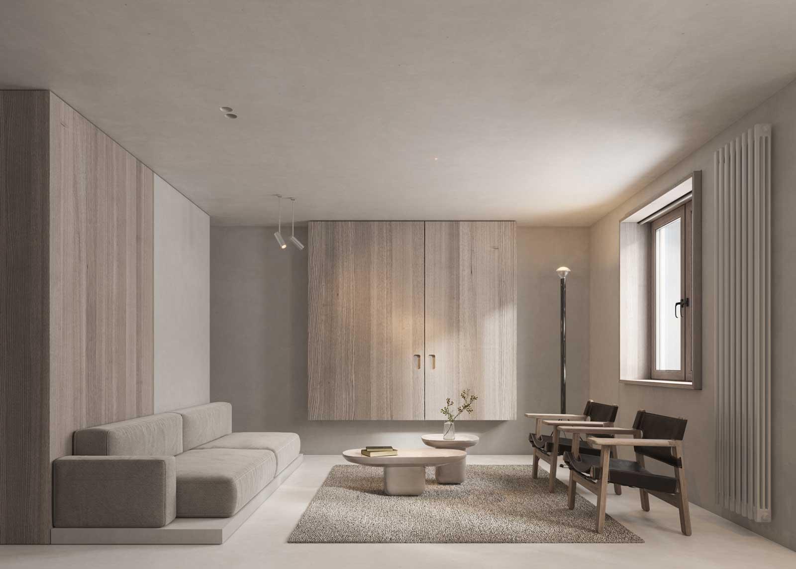 Un salon paré de boiseries claires pour un intérieur sobre et apaisant