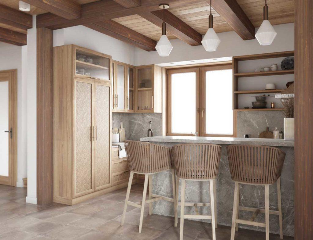 Une cuisine chaleureuse avec du mobilier en bois, du revêtement en pierre et un sol en travertin