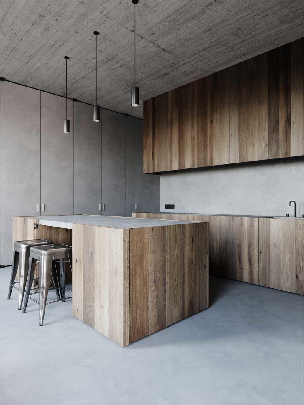 Une cuisine minimaliste en béton ciré avec du mobilier en bois rustique