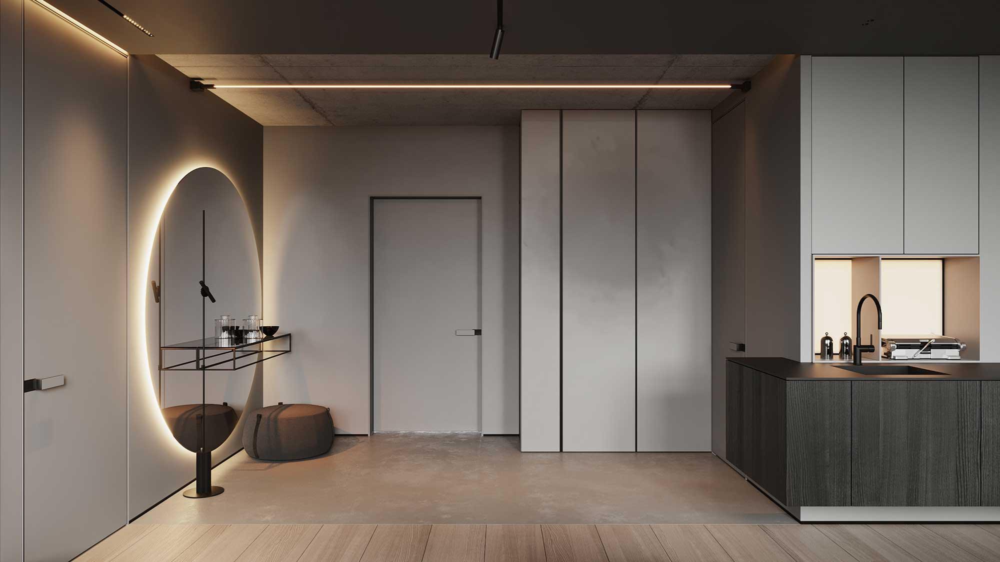 Une entrée minimaliste économe en meubles avec un grand miroir rond éclairé par des néons