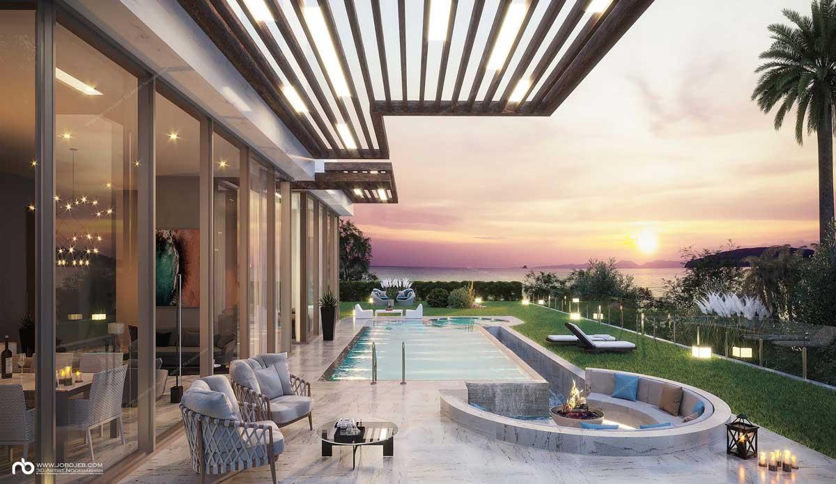 Le mobilier de jardin se place sur une grande terrasse au bord d'une piscine pour des instants chaleureux et conviviaux