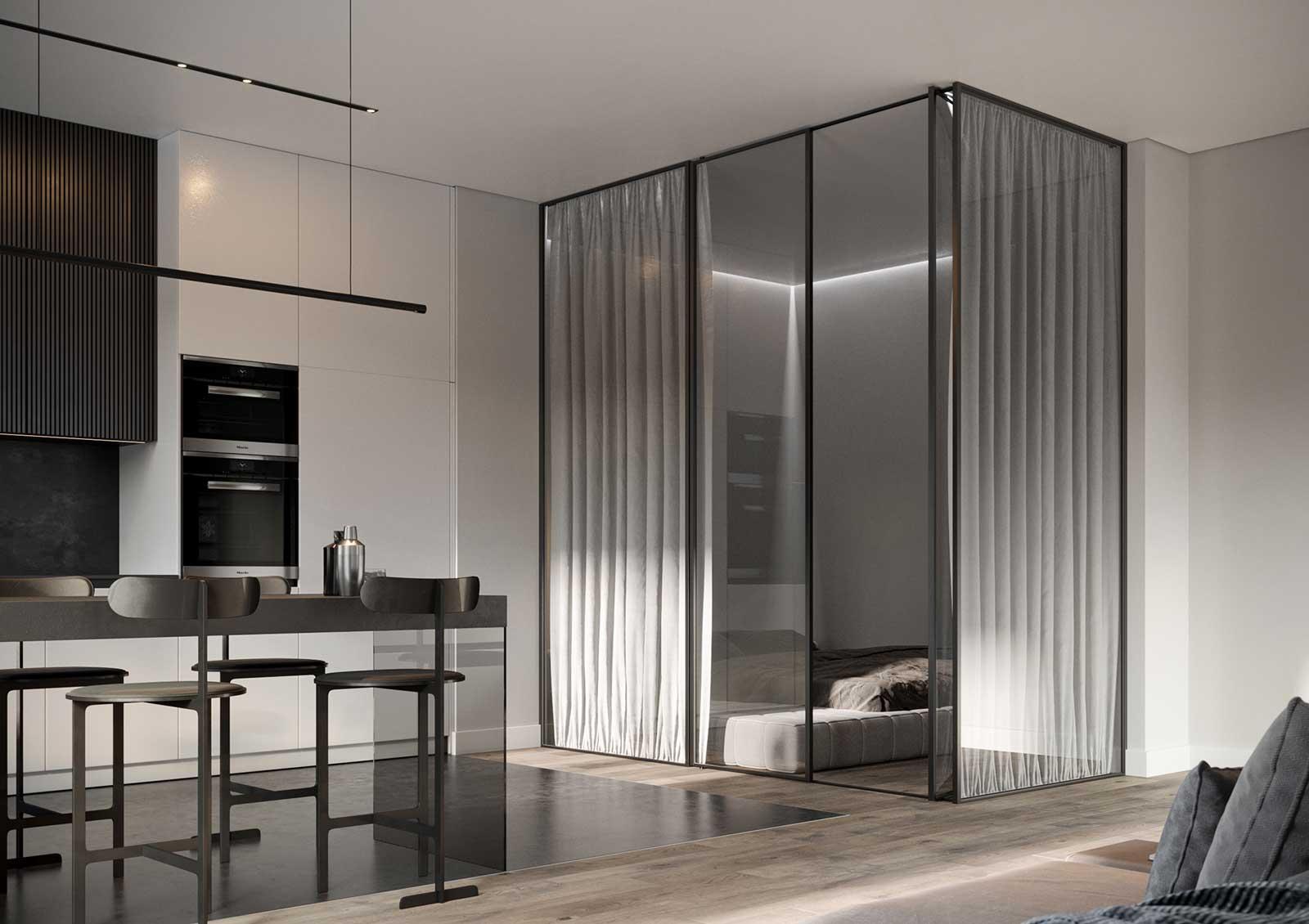 Un intérieur minimaliste avec une grande verrière pour séparer l'espace nuit de la salle de séjour