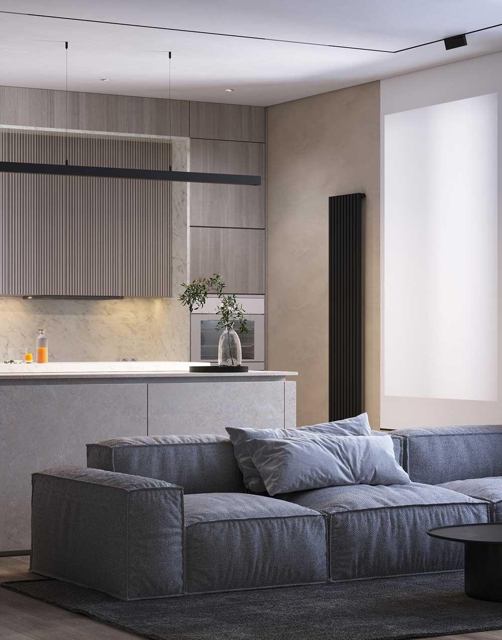 Un intérieur minimaliste avec un ilot central qui sépare le salon de la cuisine