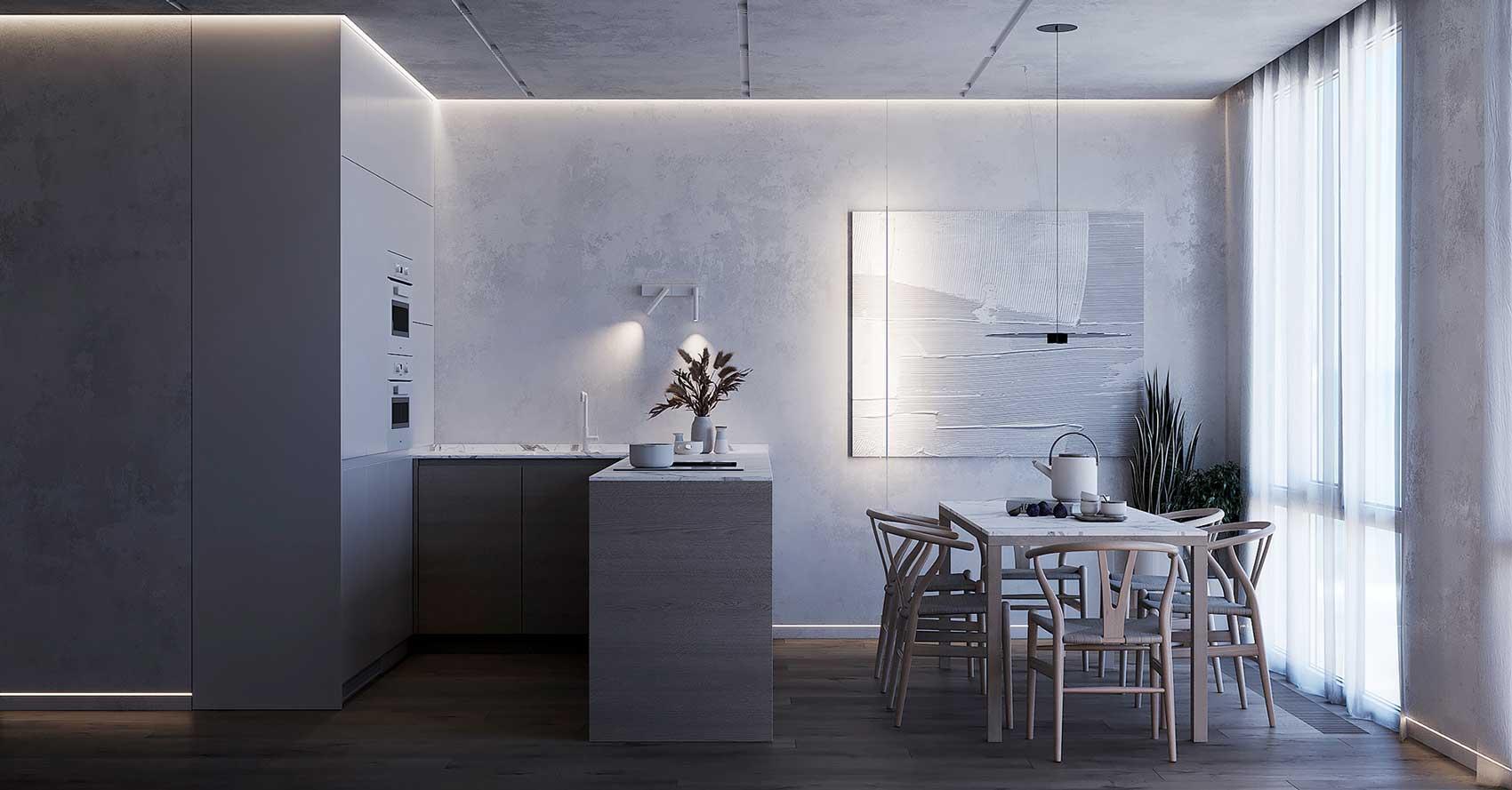 Un intérieur minimaliste aux couleurs pâles qui sont mises en valeur par un éclairage bleuté