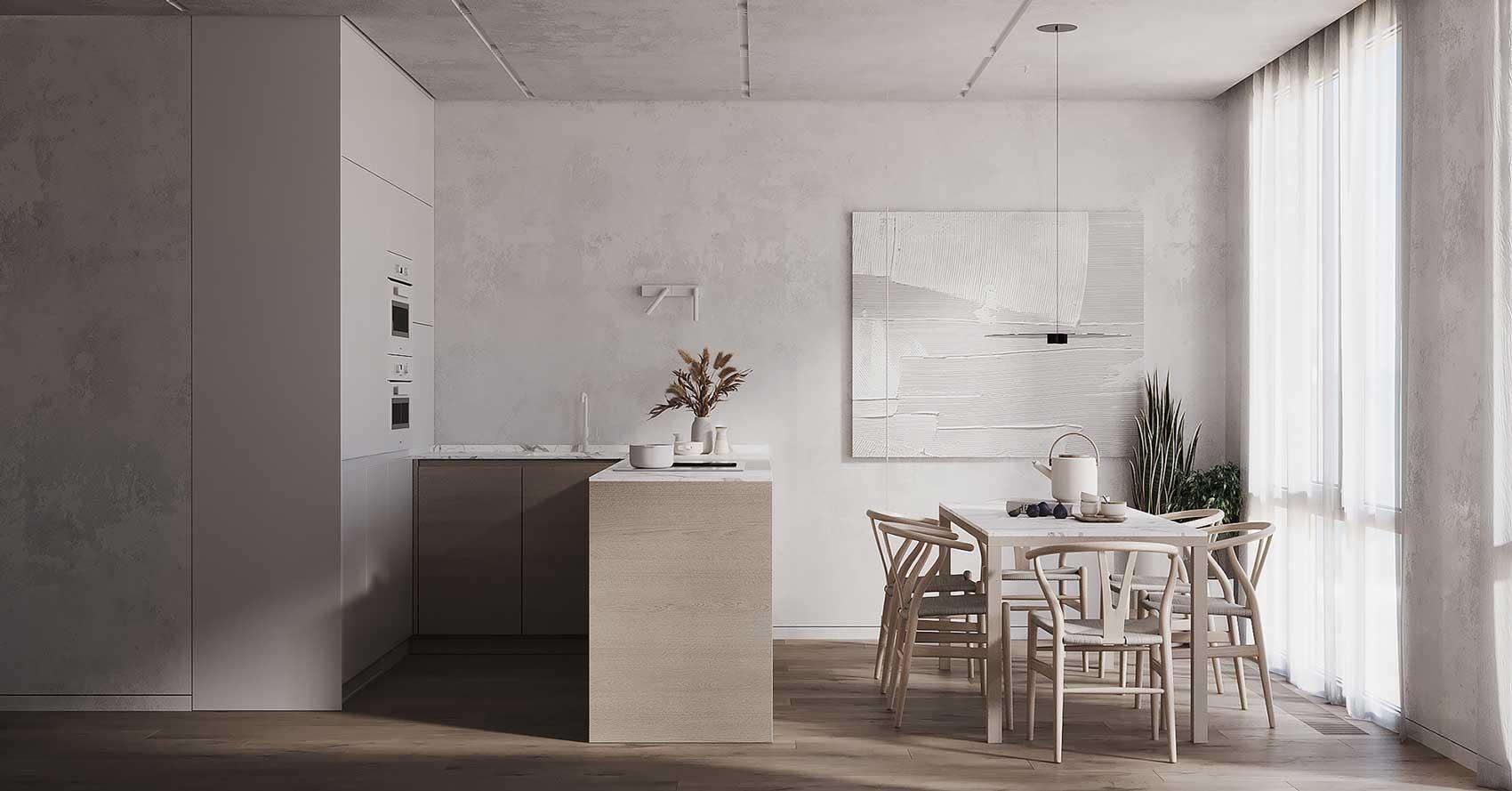 Un intérieur minimaliste aux couleurs blanches et bois clair pour un intérieur sobre et épuré