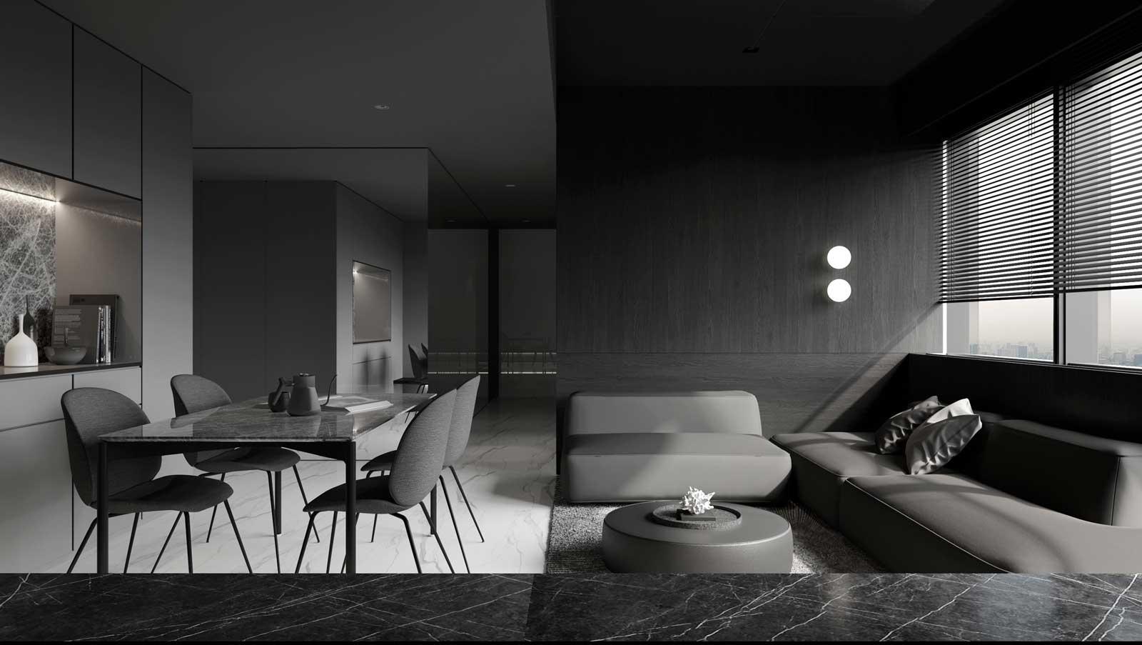 Un look total black pour un intérieur minimaliste qui se pare d'une touche chic avec un rebord en marbre noir