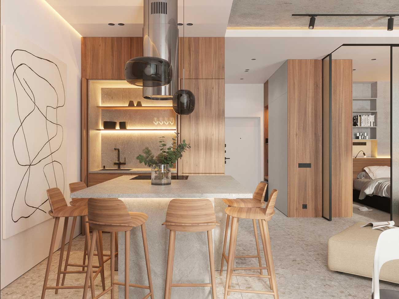 Une cuisine minimaliste en blanc et en bois blond avec des étagères rétroéclairées