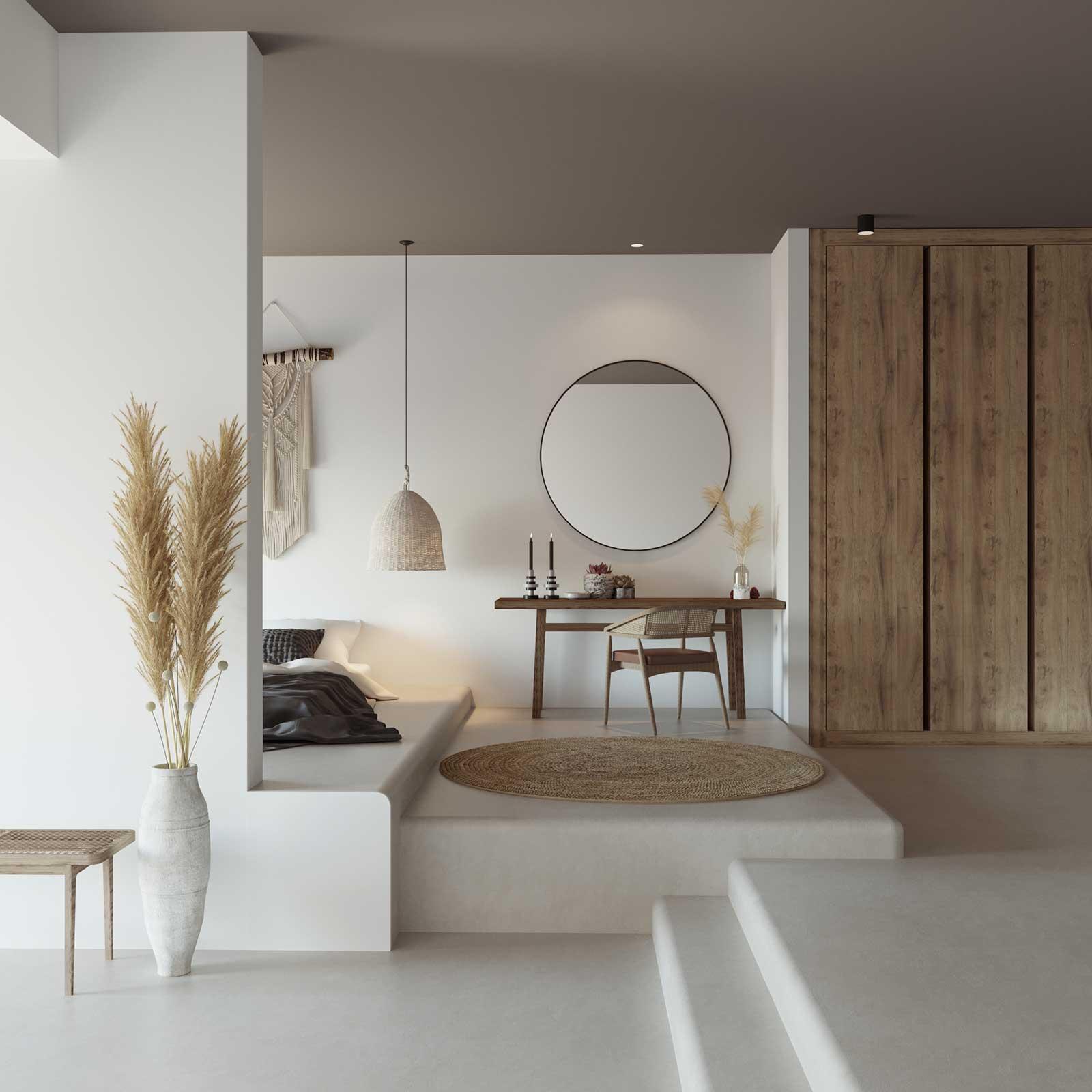 Un intérieur blanc et bois avec de l'enduit en tadelakt pour apporter de la chaleur et de la luminosité